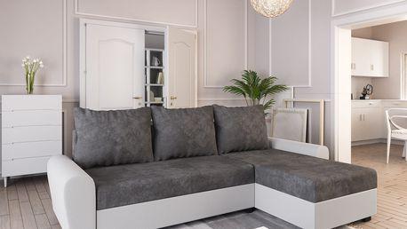 Rohová sedačka DAKAR, tmavě šedá látka/bílá ekokůže