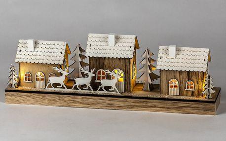 Vánoční dřevěná vesnička Deers 43,5 cm, 7 LED