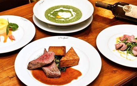4chodové menu v prvorepublikové restauraci pro 2