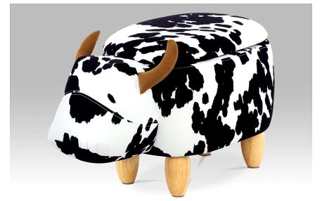 Taburet kráva TAB-201 bílá / černá Autronic