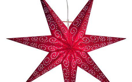 STAR TRADING Závěsná lampa Red Star, červená barva, papír