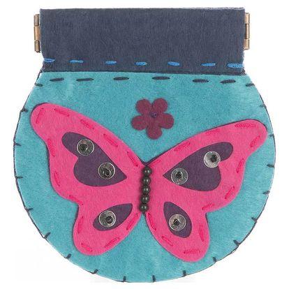 Fashion Icon Peněženka Motýl růžová flísová ruční práce