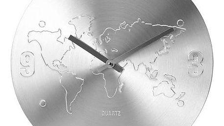 Nástěnné hodiny World stříbrná, 35 cm