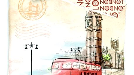 Jerry Fabrics Bavlněné povlečení London bus, 140 x 200 cm, 70 x 90 cm
