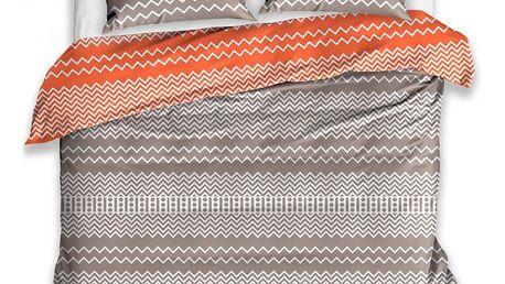 TipTrade Bavlněné povlečení Railing oranžová, 140 x 200 cm, 70 x 90 cm