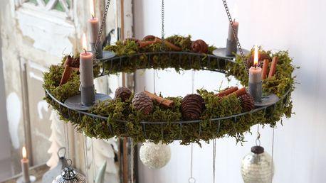 Chic Antique Závěsný adventní svícen Zinc, šedá barva, kov, zinek
