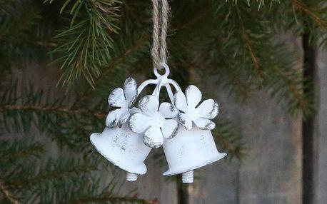Chic Antique Vánoční ozdoba Christmas Bells, bílá barva, kov