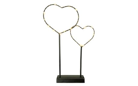 Nexos 57390 Vánoční LED dekorace - kovové srdce - 25 LED černá