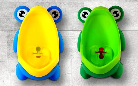 Dětský pisoár žába: v zelené a žluté barvě