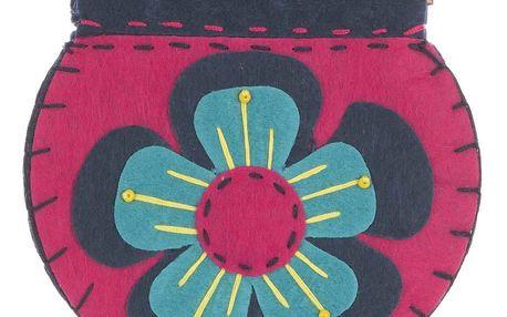 Fashion Icon Peněženka Modrá kytka flísová ruční práce