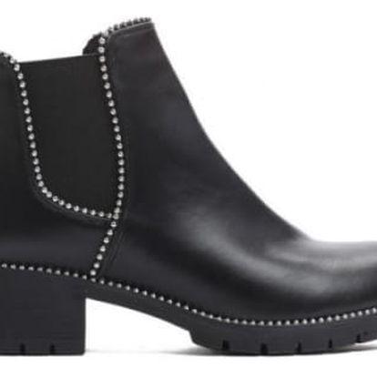 Dámské černé lesklé kotníkové boty Gianna 3281A