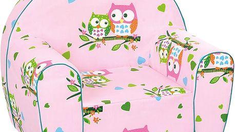 BINO Křesílko růžové - sovičky