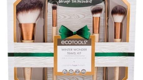 EcoTools Brushes Winter Wonder Travel Kit dárková kazeta pro ženy štětec na pudr 1 ks + štětec na rozjasňovač 1 ks + zkosený štětec 1 ks + štětec na oční stíny 1 ks + plechová krabička 1 ks