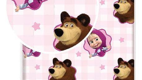 Jerry Fabrics Dětské bavlněné prostěradlo Máša a Medvěd, 90 x 200 cm