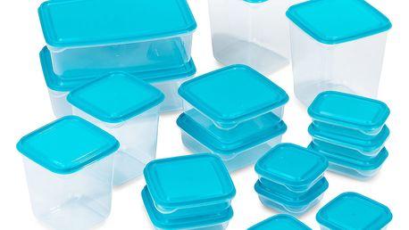 Sada plastových dóz s víky, 17 ks, modrá