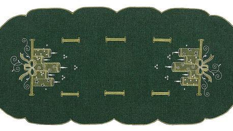 Forbyt Vánoční ubrus Svíčky zelená, 40 x 90 cm