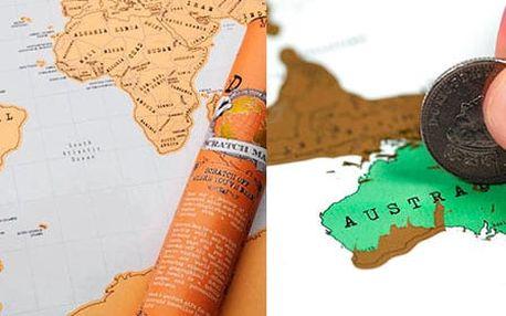 AKCE! Stírací mapa světa - luxusní dárek! Varianta: 1 kus