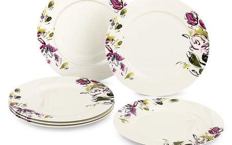 Verso 6dílná sada plochých talířů Clasico Floral, 27 cm