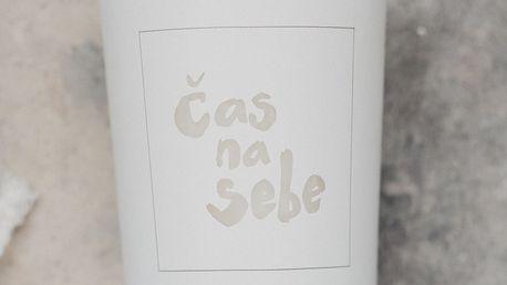 Love Inc. Bílá svíčka Čas na sebe - bazalka a limetka, bílá barva, sklo, dřevo, vosk
