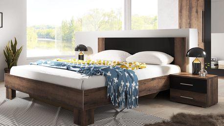 VIERA postel 180x200 cm s nočními stolky, dub monastery/černá