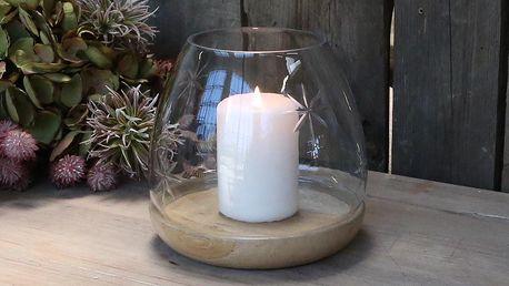 Chic Antique Svícen Hurricane Mango Wood Ø 15 cm, čirá barva, přírodní barva, sklo, dřevo