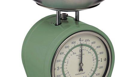 Kitchen Craft Mechanická kuchyňská váha Sage green - 4 kg, zelená barva, kov