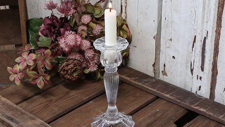 Chic Antique Svícen Fructiferous 18 cm, čirá barva, sklo