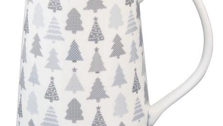Krasilnikoff Porcelánový džbán Christmas Tree, šedá barva, bílá barva, porcelán