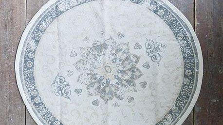 Jeanne d'Arc Living Kulatý kobereček Dusty Flower 90 cm, béžová barva, šedá barva, textil