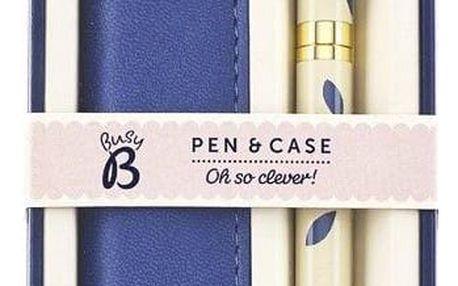 Busy B Kuličkové pero s pouzdrem Pretty, modrá barva, béžová barva, kov