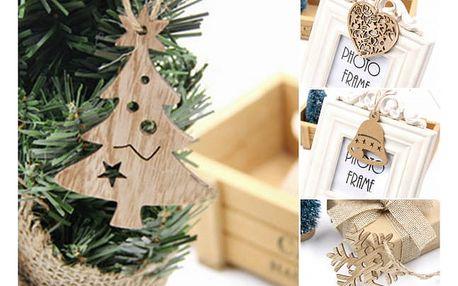 Dřevěné vánoční ozdoby 10 ks