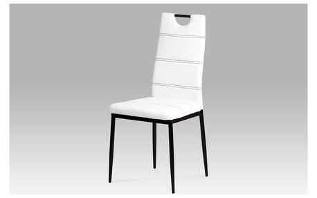 Jídelní židle ZAC-1220 WT, koženka bílá/černý lak