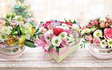 Flowerboxy s růžemi, fréziemi a chryzantémami