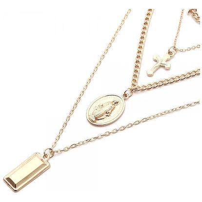 Vícevrstvý náhrdelník s Pannou Marií a křížkem