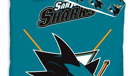TipTrade Bavlněné svíticí povlečení NHL San Jose Sharks, 140 x 200 cm, 70 x 90 cm