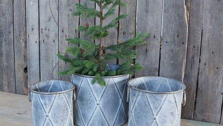 Chic Antique Plechový obal na květiny Drummer Velikost S, šedá barva, kov