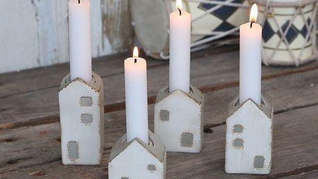 Chic Antique Adventví svícny Candlestick Houses set 4 ks, béžová barva, pryskyřice