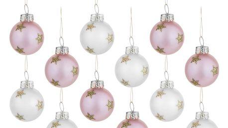 sass & belle Sada vánočních baňek Gold Stars Mini, růžová barva, bílá barva, zlatá barva, stříbrná barva, sklo