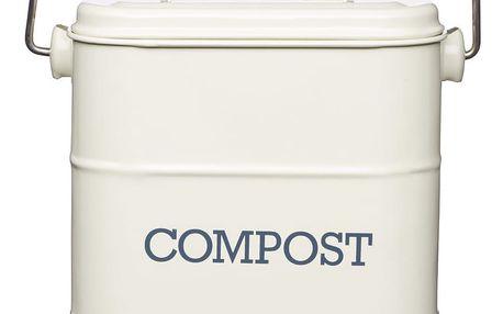 Kitchen Craft Kyblík na kompost Cream 3,2 l, krémová barva, kov