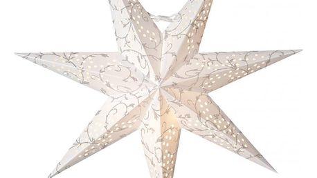 watt & VEKE Závěsná hvězda Beatrix White 72 cm, bílá barva, stříbrná barva, plast, papír