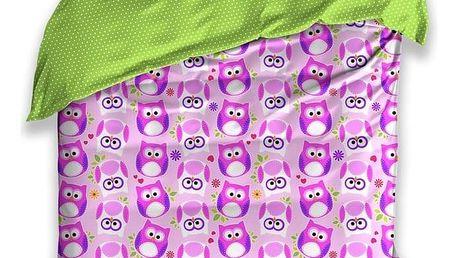 BedTex Dětské bavlněné povlečení Sovičky fialová, 140 x 200 cm, 70 x 90 cm