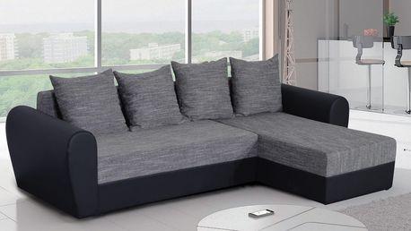 Rohová sedačka FORD 3, šedá látka/černá ekokůže