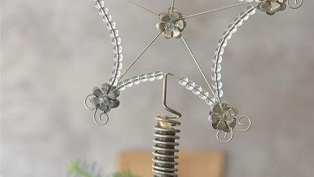 Jeanne d'Arc Living Vánoční hvězda na stromeček Antique Silver, šedá barva, kov