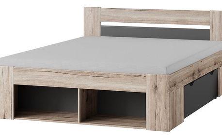 ROOMA postel 160x200, dub/šedá