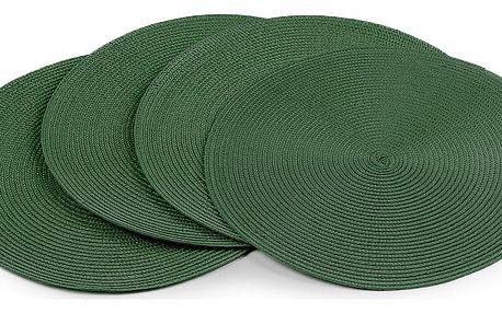 JAHU Prostírání Deco kulaté tmavě zelená, 35 cm, sada 4 ks
