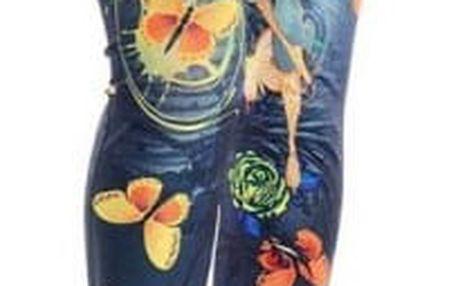 Dámské džegíny s pestrobarevnými motýly - 2 barvy