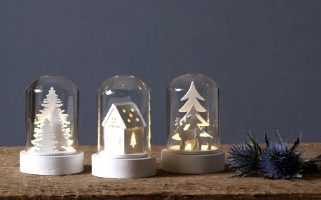 STAR TRADING Svítící dekorace - Winter Fairytale set 3 kusů, bílá barva, čirá barva, sklo, dřevo, plast