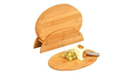 Bambusová kuchyňská prkénka + stojan, 7 části v sadě, ZELLER