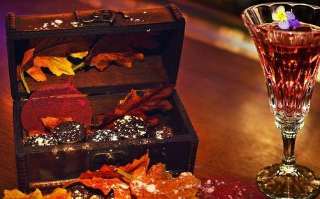 Alkoholické čokoládové pralinky a drink pro dva