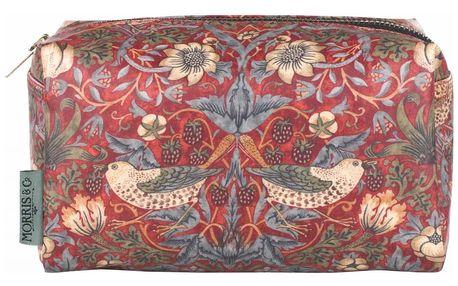 MORRIS & Co. Kosmetická taštička Strawberry Thief - široká, červená barva, zelená barva, multi barva, textil